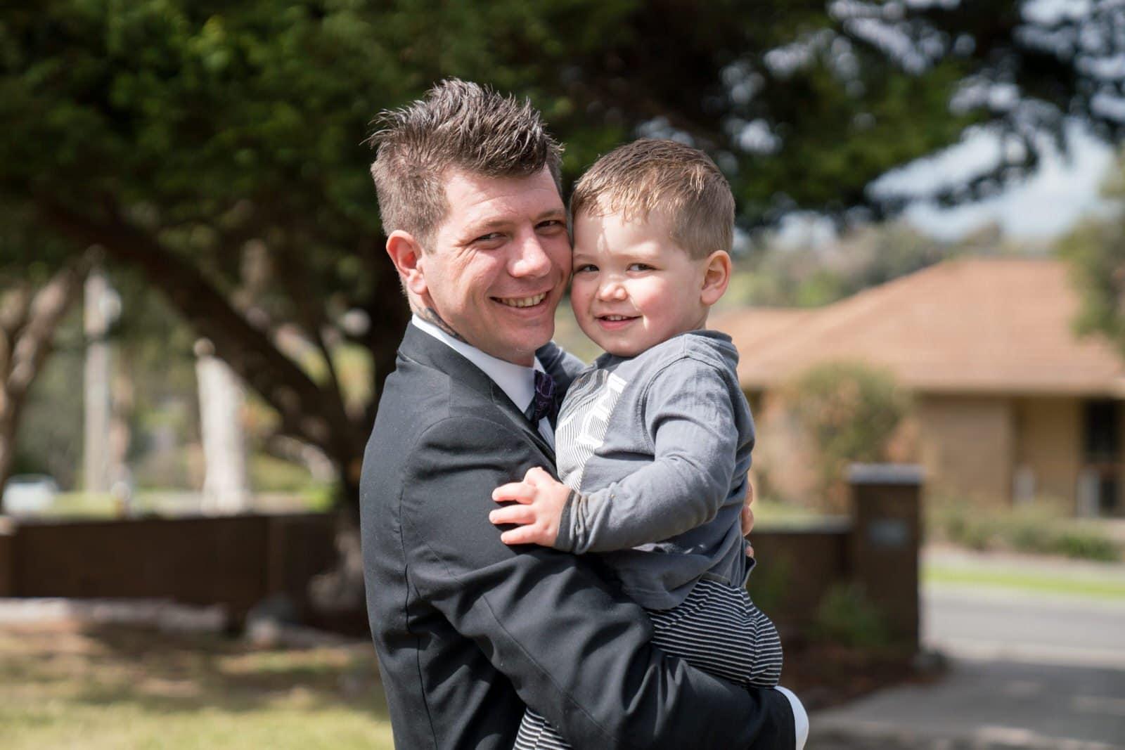 Melbourne Wedding Photographer Groom with son