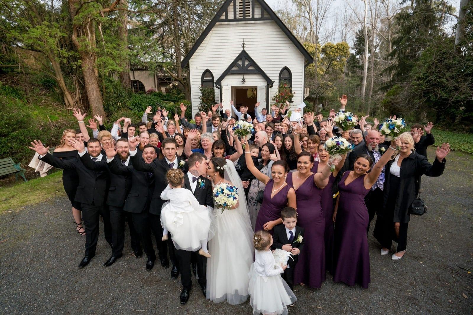 Chateau Wyuna Wedding Ceremony Chapel Group Photo