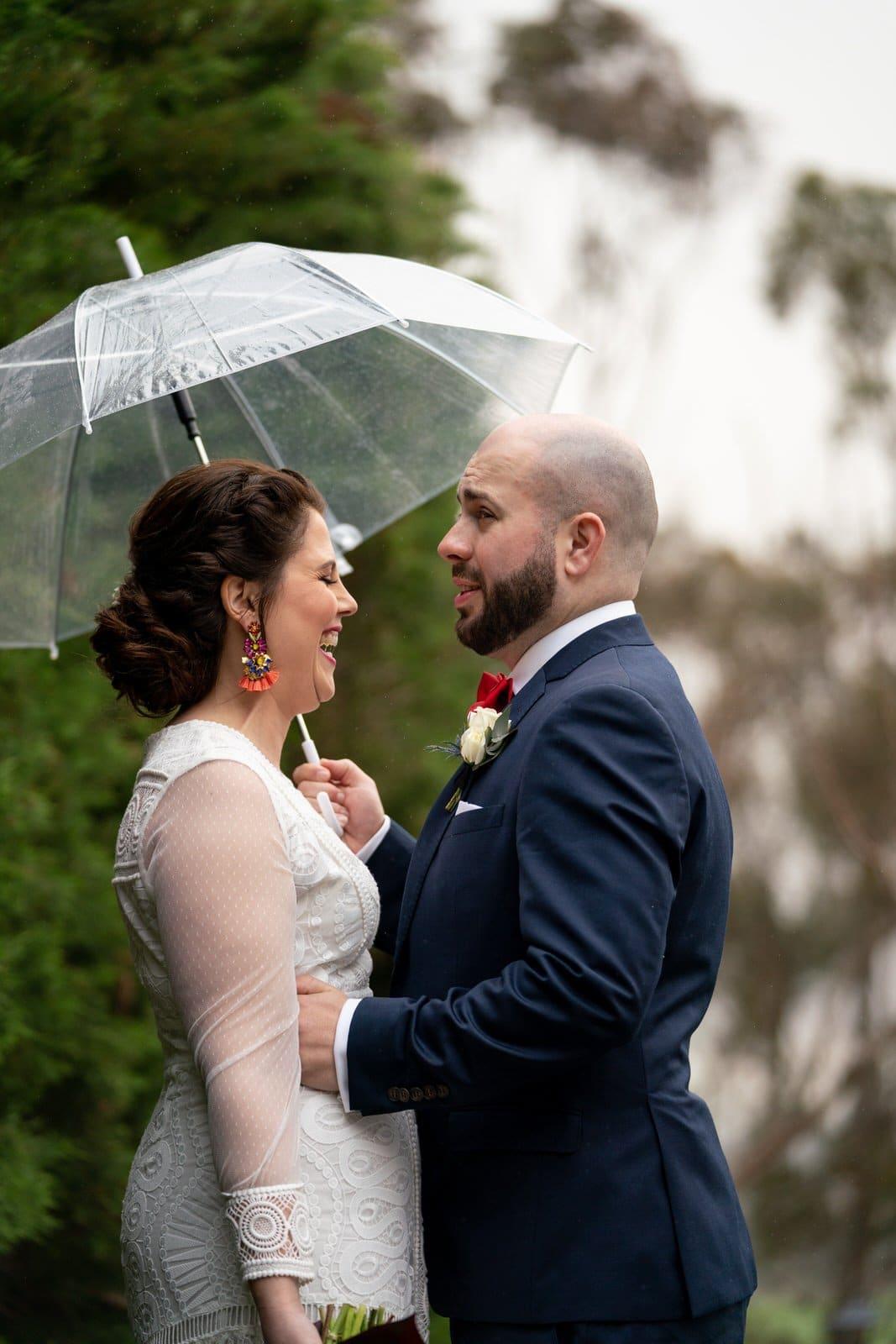Raining bride & groom