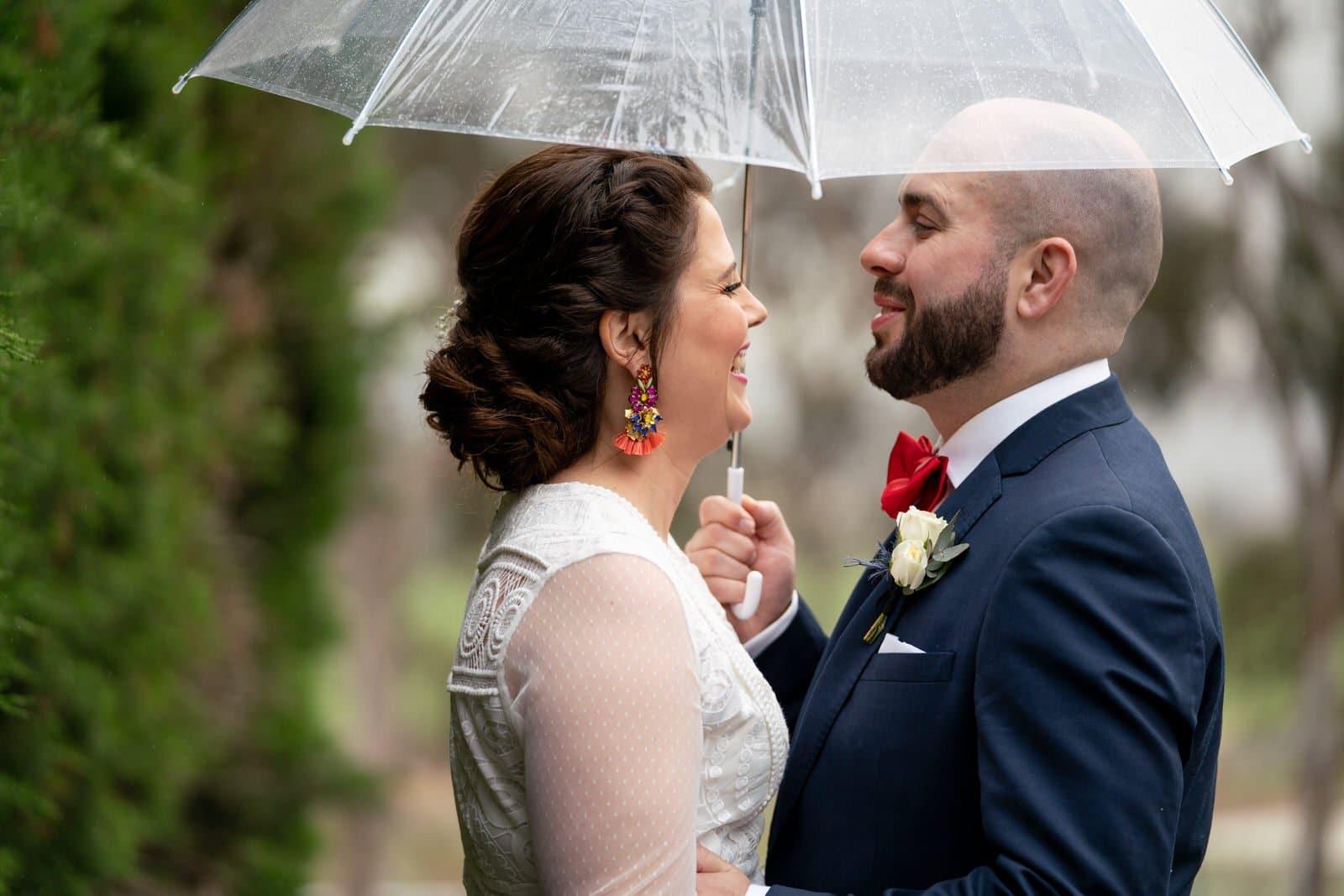 Raining wedding photography