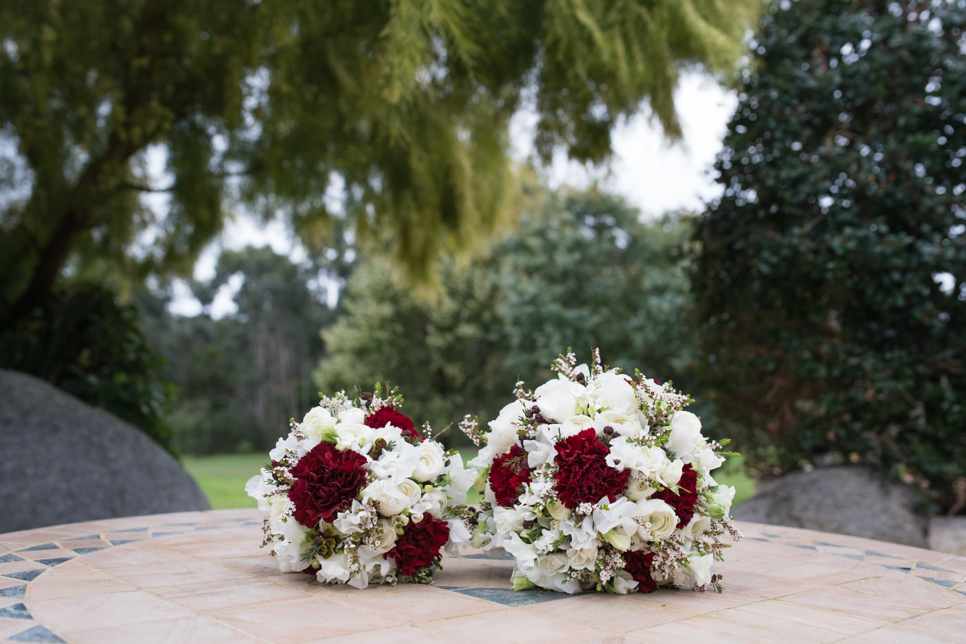 White & Red Rose Wedding Bouquet