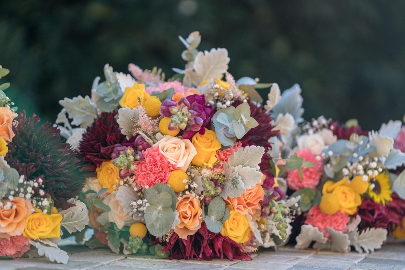 Yellow & Burgundy Mix Wedding Bouquet