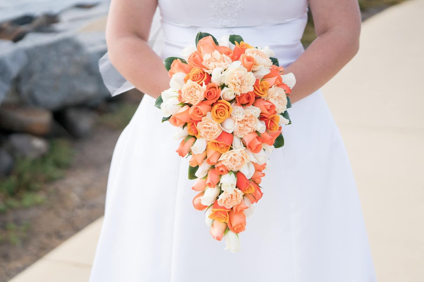 Orange Rose Wedding Flower Cascade Bouquet Inspiration